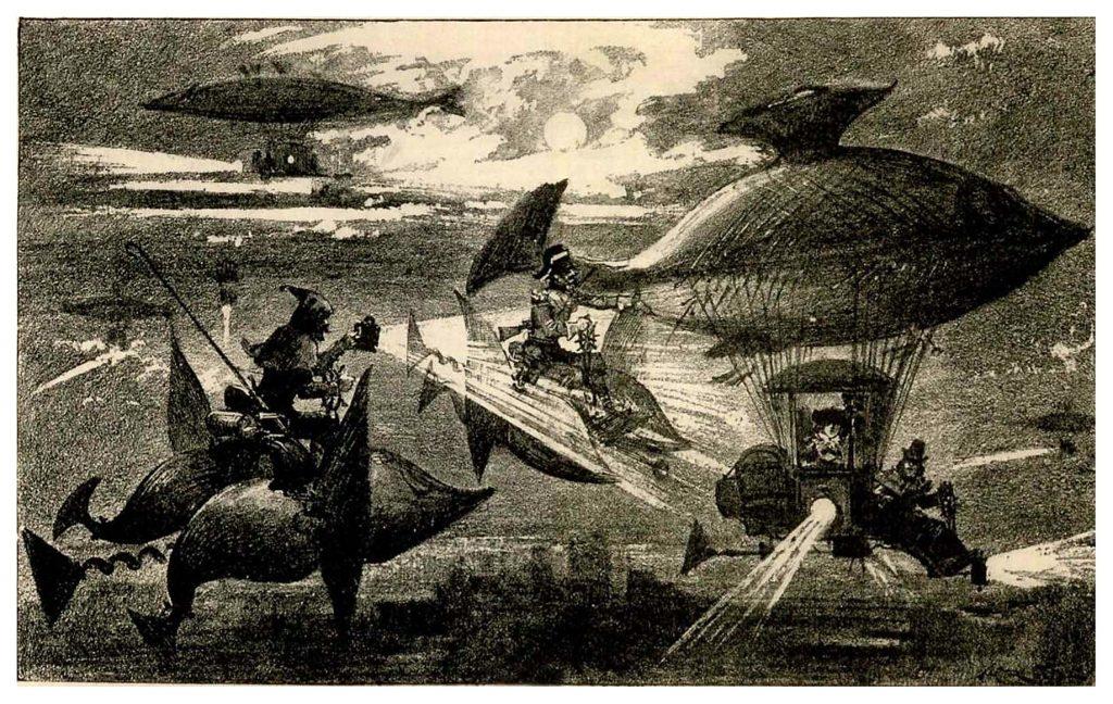 An illustration from Albert Robida's Le Vingtième Siècle, 1883
