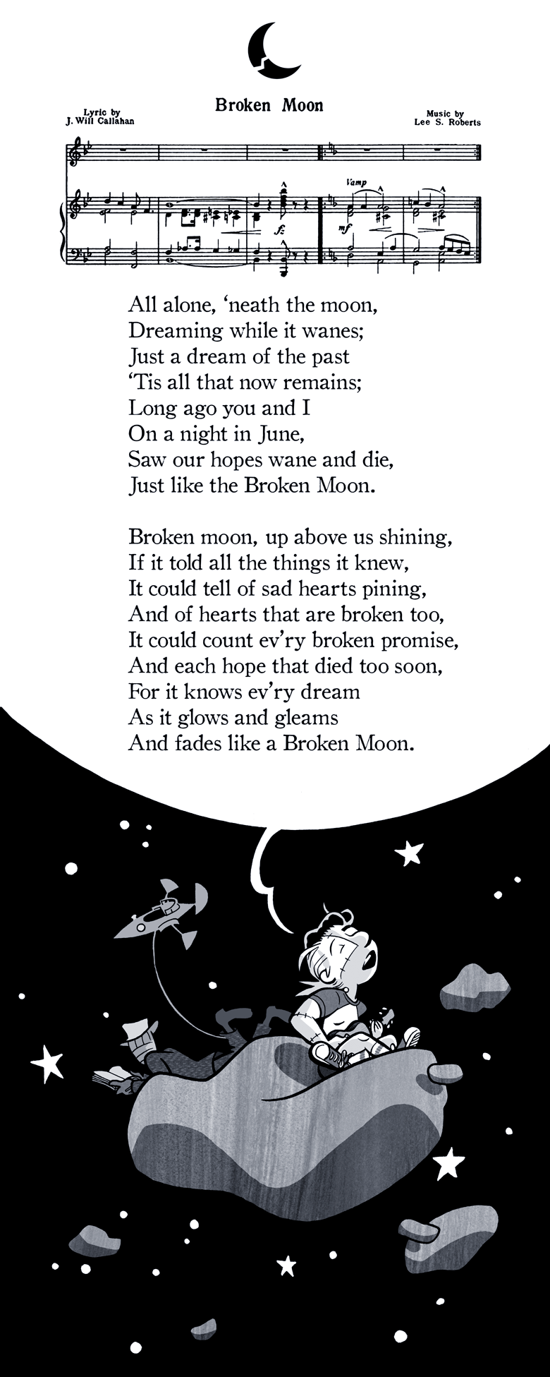 """Broken Moon"" Lyrics by J. Will Callahan, Music by Lee S. Roberts"